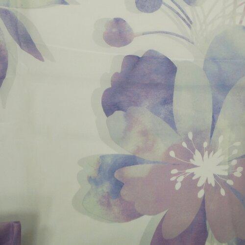 Záves s krúžkami Sam kvety fialová, 135 x 245 cm