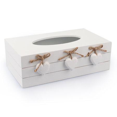 Krabička na vreckovky so srdiečkami, biela
