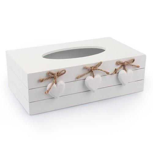Krabička na vreckovky so srdiečkami, biela, Dakls