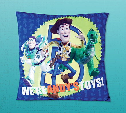 Polštářek Toy Story, 40 x 40 cm, modrá, 40 x 40 cm