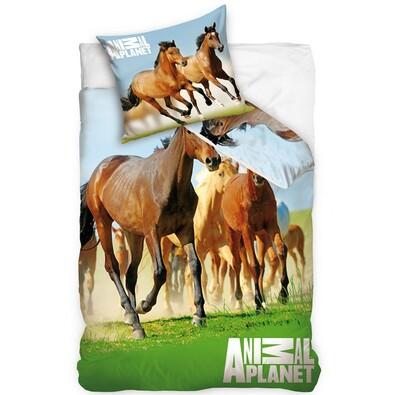 Bavlněné povlečení Animal Planet - Koně, 140 x 200, 70 x 80 cm