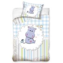 Lenjerie de pat din bumbac pentru pătuț Hipopotamul Ludan, 100 x 135 cm, 40 x 60 cm
