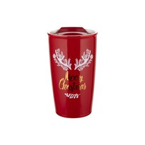 Florina Porcelánový termohrnek s víkem Merry Christmas, 480 ml