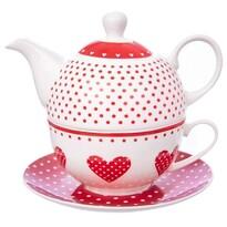 Orion Dzbanek na herbatę z filiżanką i talerzykiem Kropka
