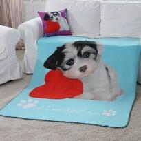 Pătură Domarex Puppy Love Dog, turcoaz, 130 x 160 cm