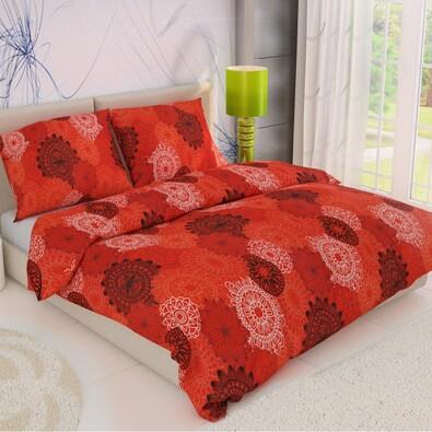 Pościel bawełniana Koła czerwony, 140 x 220 cm, 70 x 90 cm