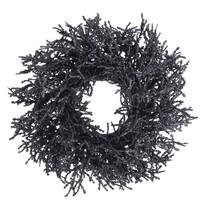 Vianočný dekoračný veniec Monza pr. 25 cm, tm. sivá