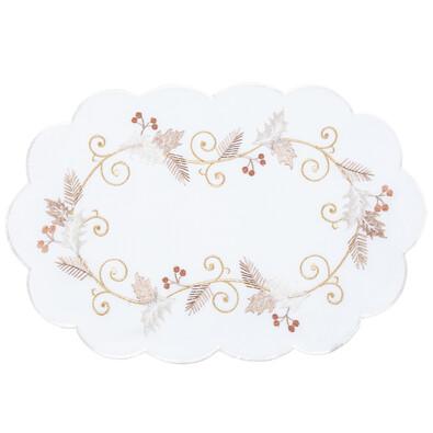 Serweta świąteczna Ostrokrzew białz, 30 x 45 cm