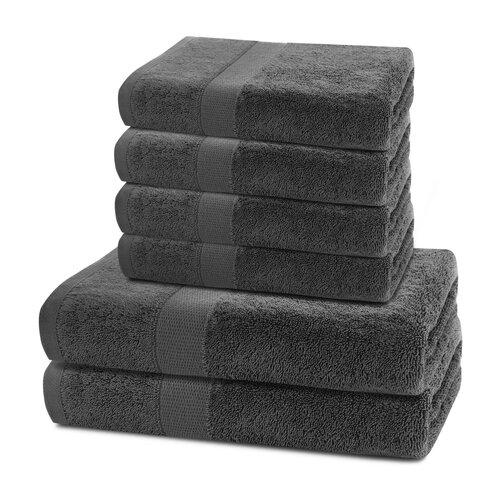 Set prosoape DecoKing Marina charcoal, 4 buc. 50 x 100 cm, 2 buc. 70 x 140 cm