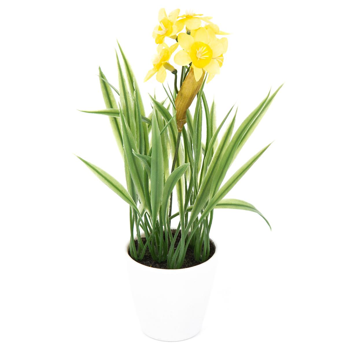 Umělá květina Narcis v květináči žlutá, 22 cm