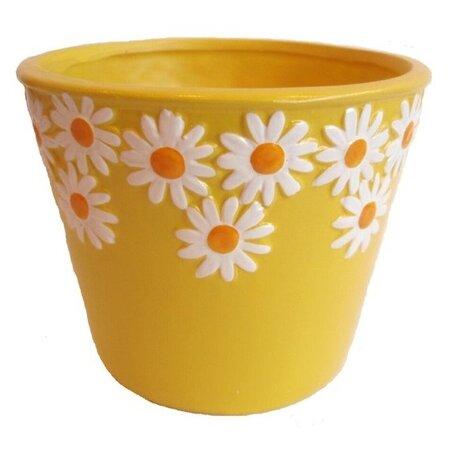 Keramický obal na květináč Kopretiny žlutá, pr. 12 cm