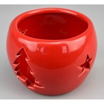 Vianočný svietnik na čajovú sviečku Arcadia červená, 9 cm
