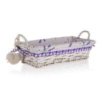 Coș împletit Home Decor cu mânere Lavender, 35 x17 x 9 cm