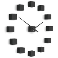 Ceas de design Future Time FT3000BK Cubic black, autoadeziv, diam. 50 cm
