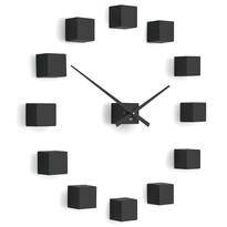 Future Time FT3000BK Cubic black Designowe zegar samoprzylepny, śr. 50 cm