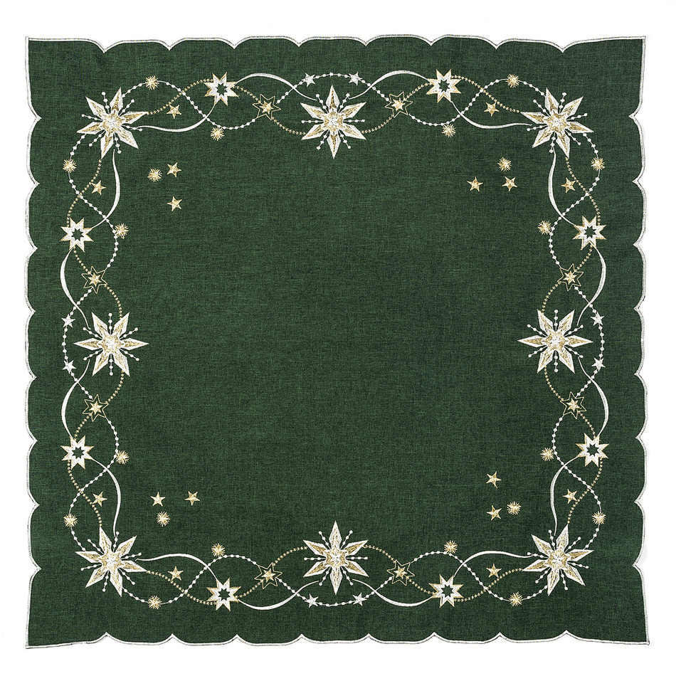 Forbyt Vánoční ubrus Vánoční hvězda zelená, 120 x 140 cm