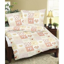 Lenjerie de pat, din flanelă, Inimă patchwork, 140 x 200 cm, 70 x 90 cm