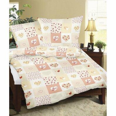 Bellatex Flanelové obliečky Srdce patchwork, 140 x 200 cm, 70 x 90 cm