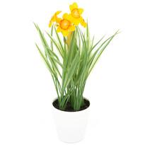 Floare artificială Narcisă în ghiveci, portocalie, 22 cm