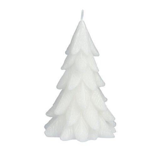 Vánoční svíčka Xmas tree bílá, 12,5 x 8,5 cm