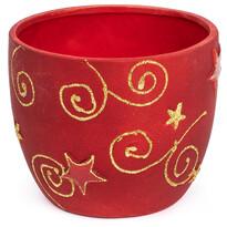 Keramický obal na květináč Golds červená, 15 cm