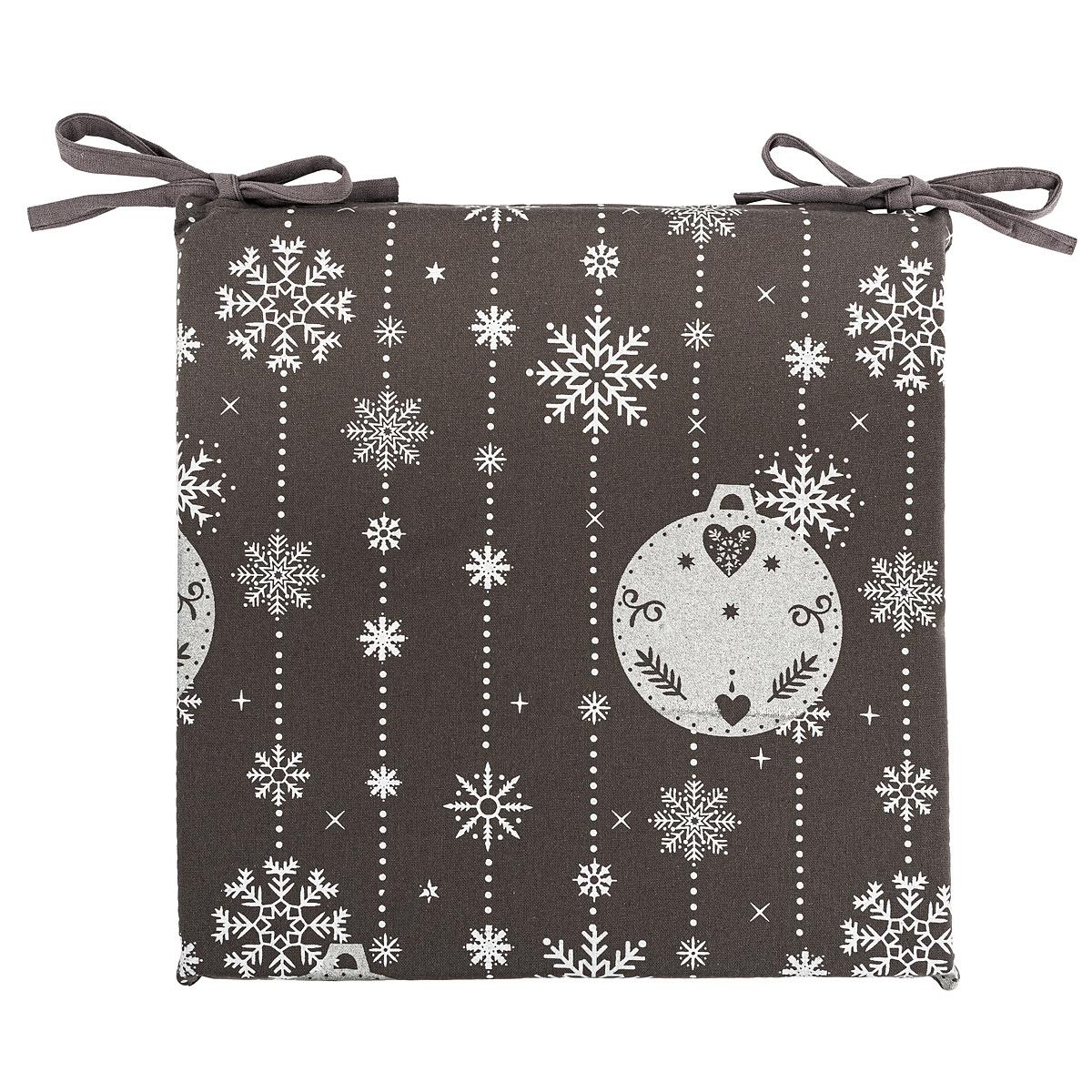 Forbyt Vánoční sedák na židli Vánoční ozdoby šedá, 40 x 40 cm
