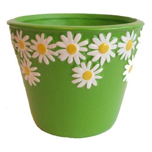 Keramický obal na květináč Kopretiny zelená, pr. 12 cm