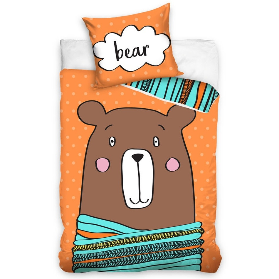 CarboTex Dětské bavlněné povlečení Medvěd Bear, 140 x 200 cm, 70 x 80 cm