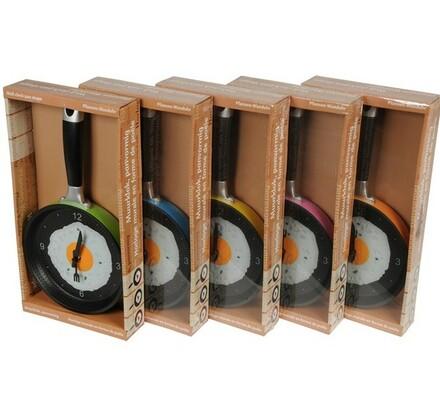 Nástěnné hodiny ve tvaru pánve, vícebarevná, 36 x 4,5 x 19 cm