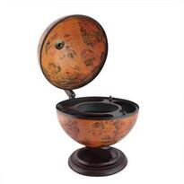 Földgömb alakú fa bárszekrény/bortartó állvány, 49 x 33 x 38 cm