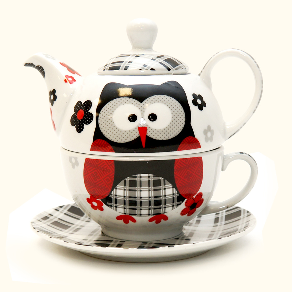 3dílná čajová sada černá sova