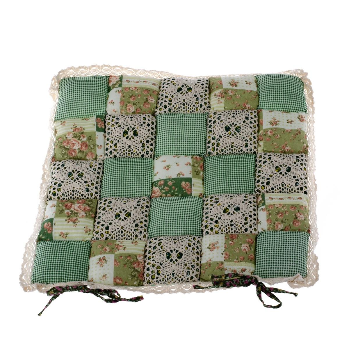 Dakls Prešívaný sedák Kocky zelená, 40 x 40 cm