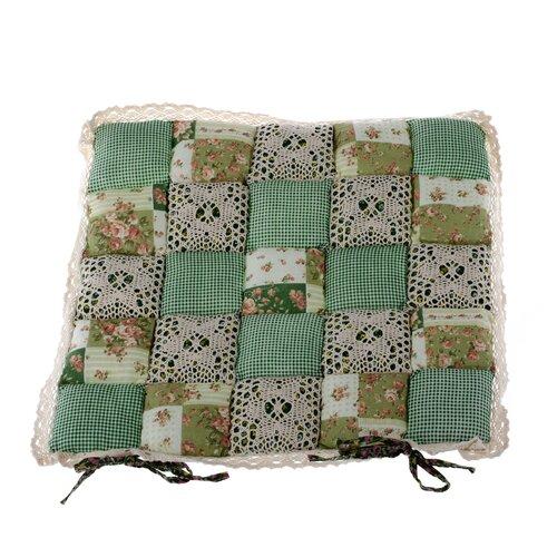 Pernă scaun Patchwork, verde cu dantelă, 40 x 40 cm