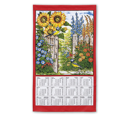 Textilní kalendář 2013 Slunečnice, červená, 45 x 70 cm
