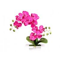 Orhidee artificială în bol, 14 flori, 45 cm, violet