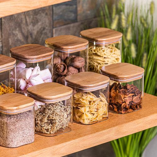 4Home Bamboo üveg élelmiszer tároló bambusz fedéllel, 950 ml