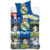 Lenjerie de pat, din bumbac, Real Madrid Mozaic, 140 x 200 cm, 70 x 80 cm
