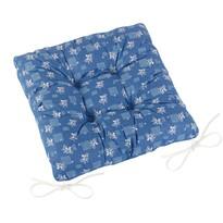 Siedzisko Adela pikowane Niebieski druk, 40 x 40 cm