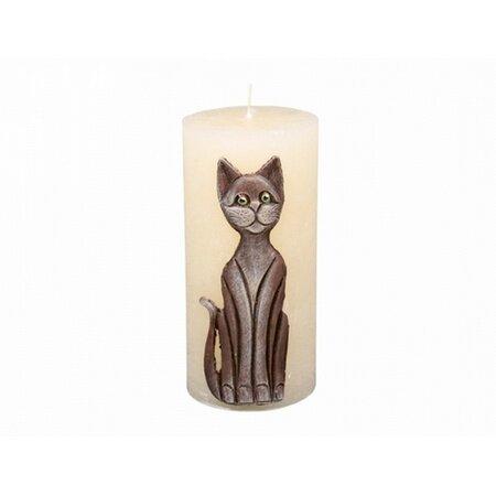 Dekorativní svíčka Kočka béžová, 14 cm