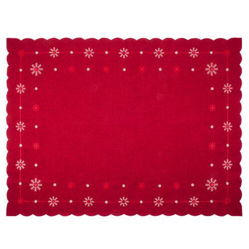 Vánoční ubrus Vločky červená, 120 x 160 cm
