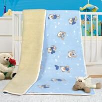 Pătură din lână merino european, albastru, 100 x 150 cm