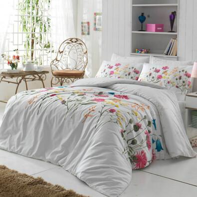 Bavlněné povlečení Nergiz Pink, 220 x 200 cm, 2 ks 70 x 90 cm + 2 ks 50 x 70 cm