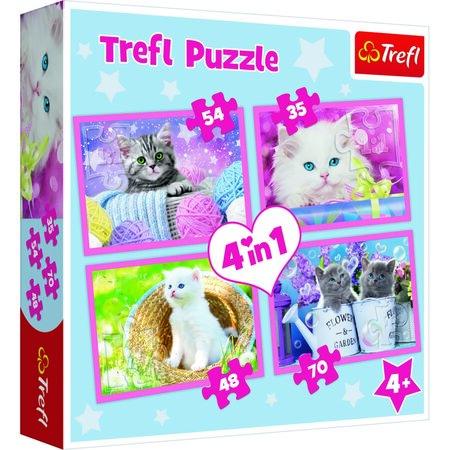 Trefl Puzzle játékos cica, 4 db