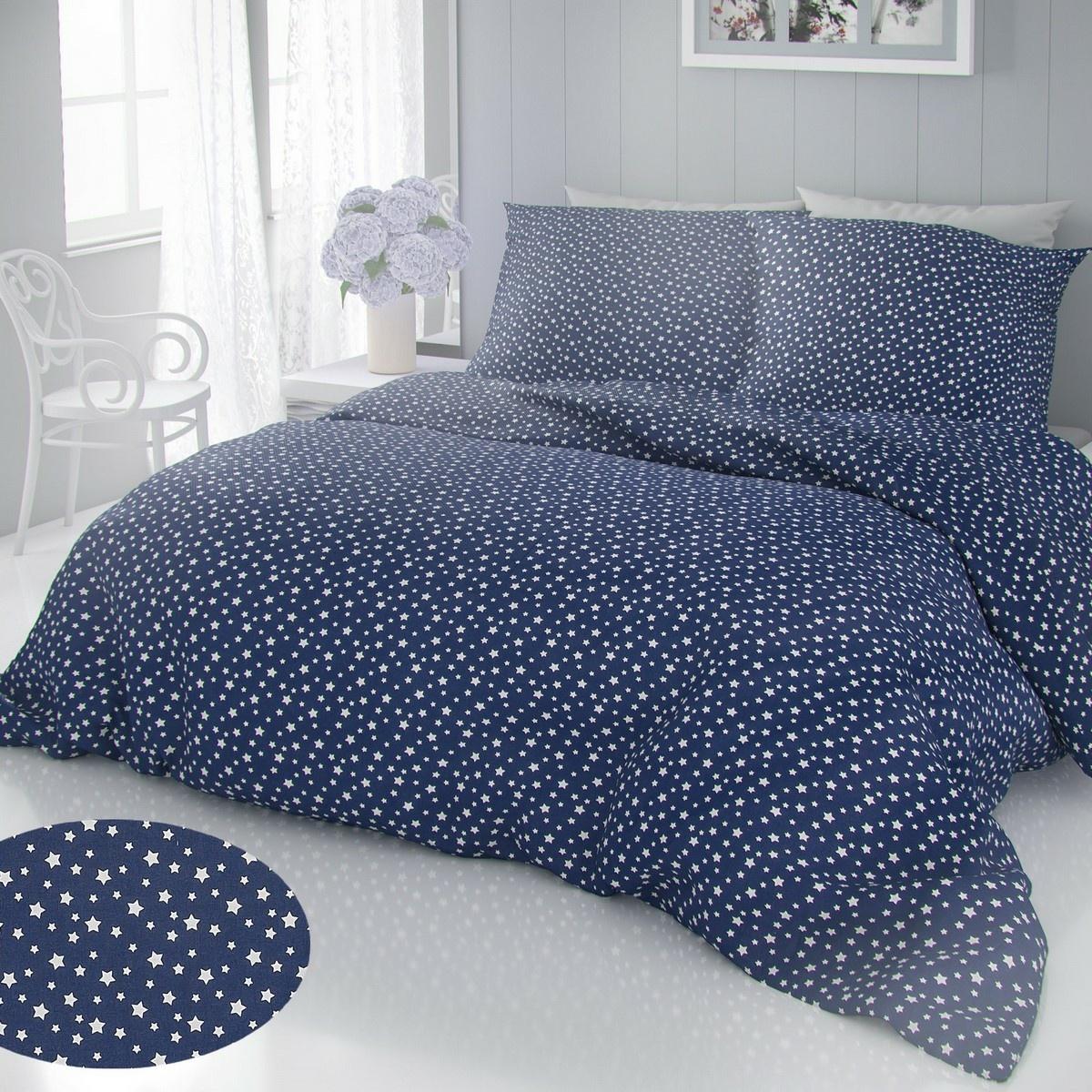 Kvalitex Bavlněné povlečení Hvězdy modrá, 140 x 220 cm, 70 x 90 cm