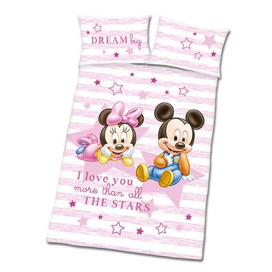 Povlečení do dětské postýlky Mickey a Minnie růžová, 135 x 100 cm, 40 x 60 cm
