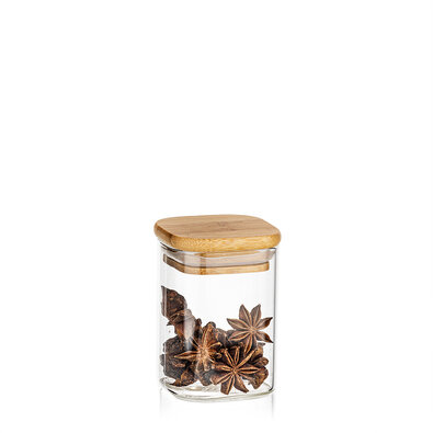 4Home Bamboo üveg élelmiszer tároló bambusz fedéllel, 170 ml