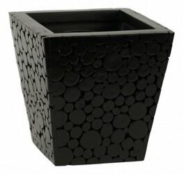 Obal s povrchem z drevených špalíčkov, černá , 23 x 23 x 23 cm, 23 x 23 x 23 cm