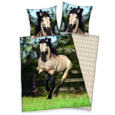 Bavlněné povlečení White Horse, 140 x 200 cm, 70 x 90 cm