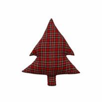 Domarex karácsonyi formázott párna, Fenyő, piros kockás, 40 cm