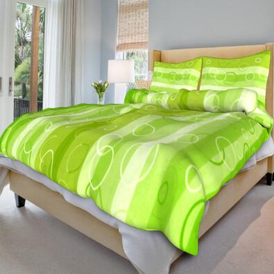 Bavlněné povlečení Kola zelená, 140 x 220 cm, 70 x 90 cm